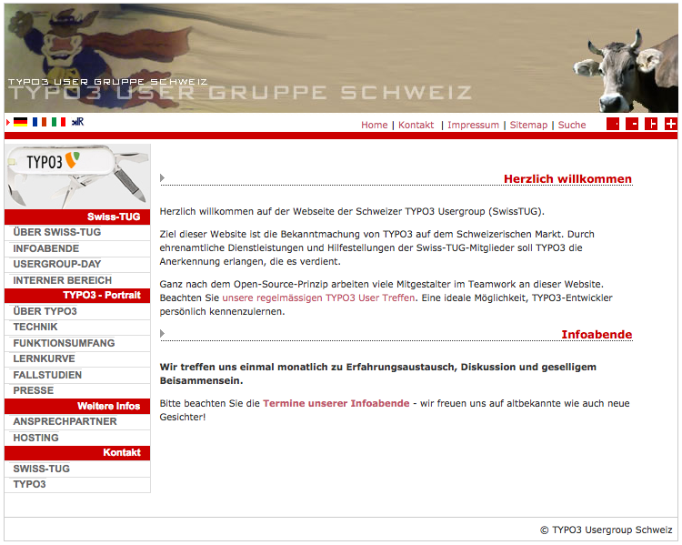 The Swiss-TUG Website as of 2013-04-09