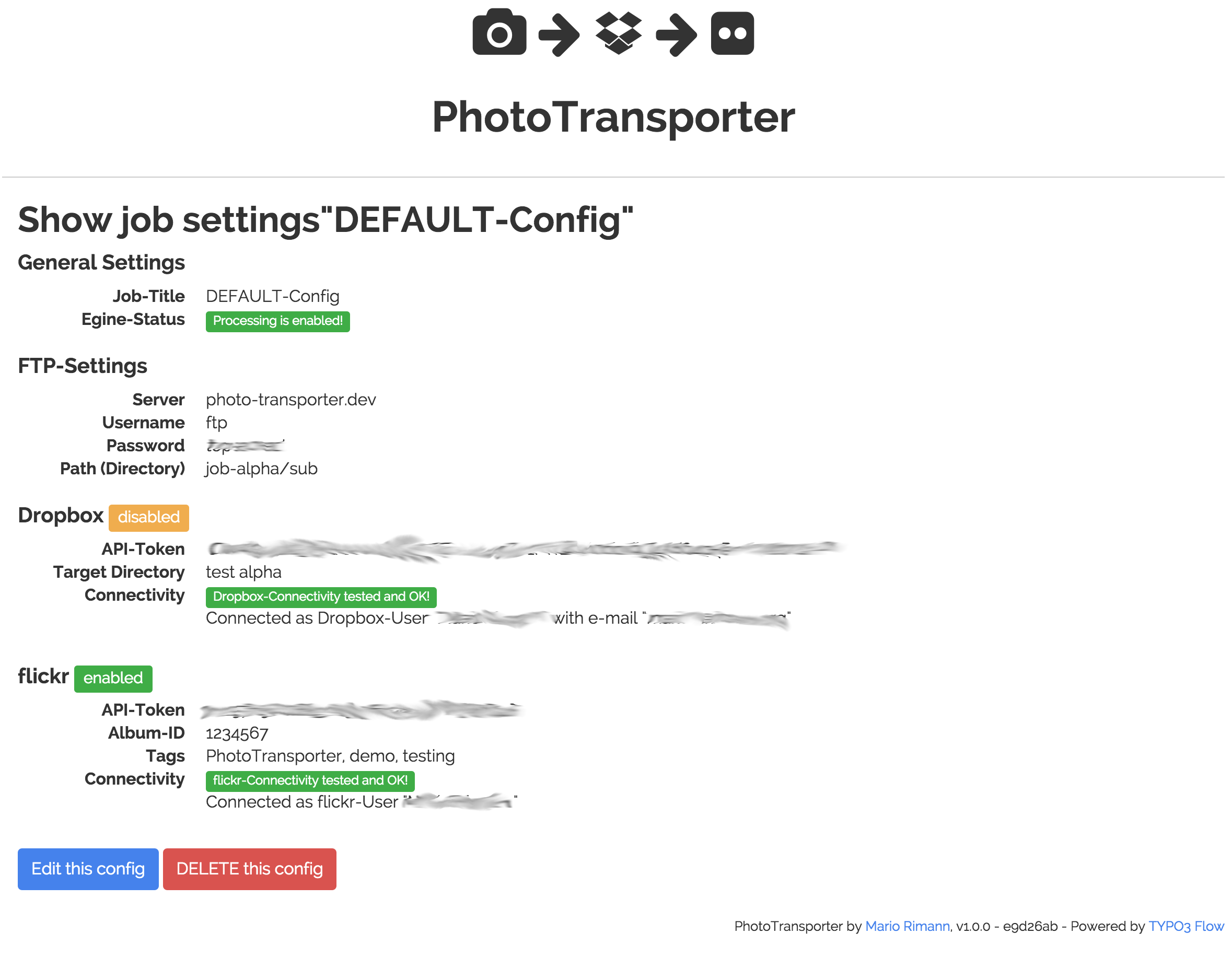 PhotoTransporter settings view to configure a job.