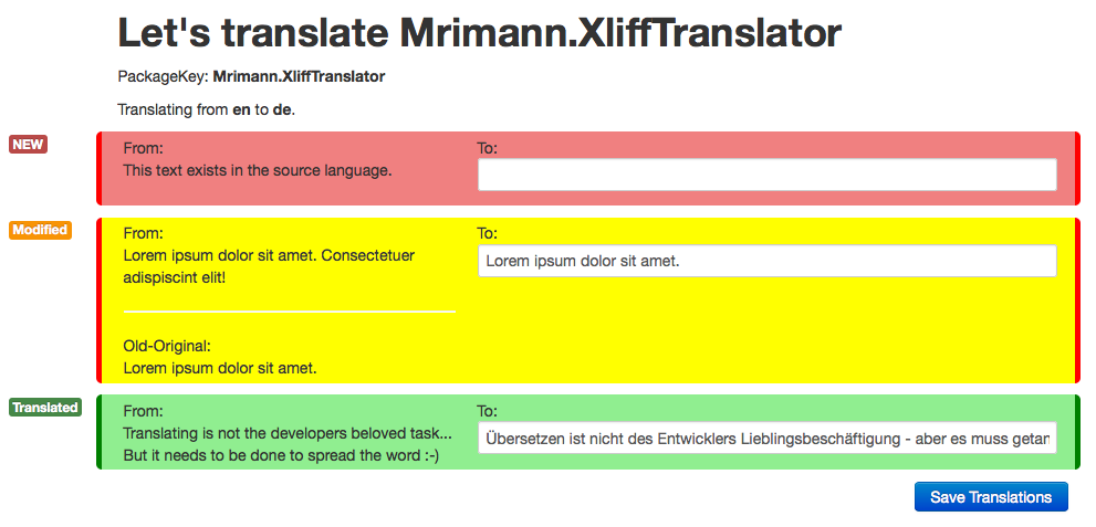 XliffTranslator in Action