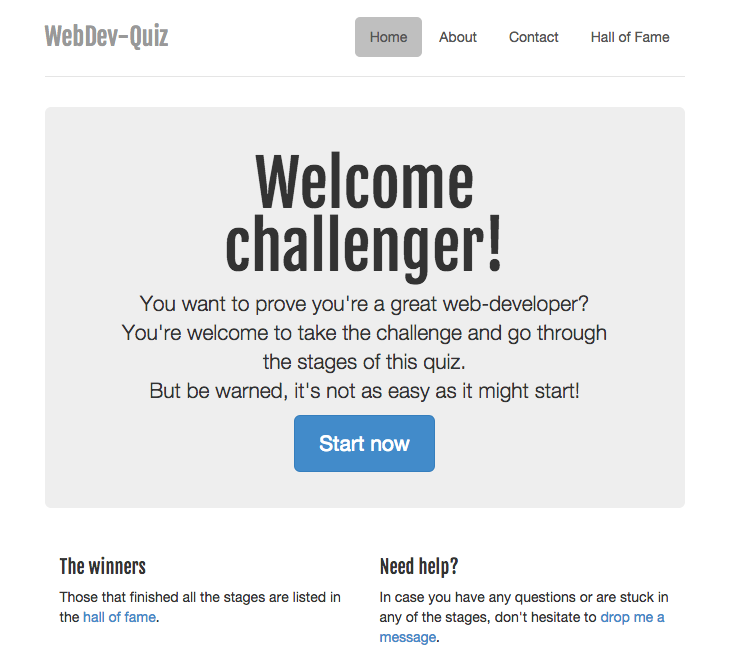 Startpage of the WebDev-Quiz